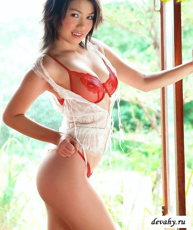 Стриптиз азиатки  открытом окне (15 фото)