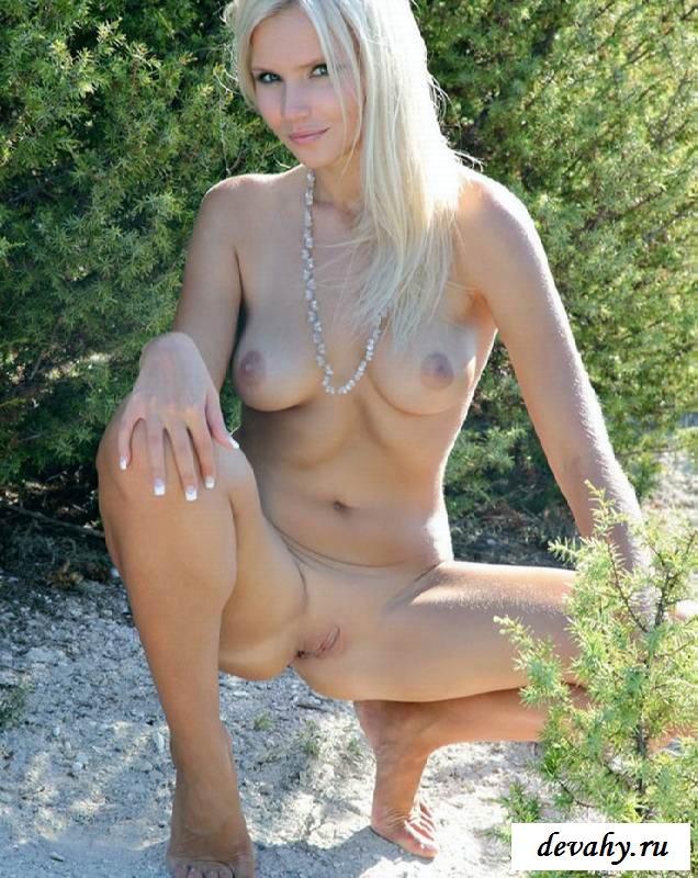 Обнаженная проститутка с побритой вульвой в кустах (16 фоток для взрослых) секс фото
