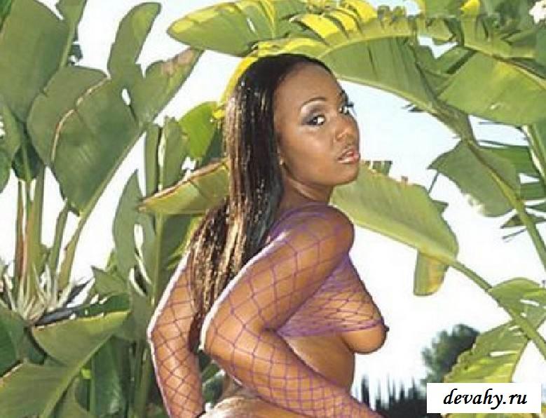 Пизда обнаженной жопастой мулатки в масле (15 фото эротики)