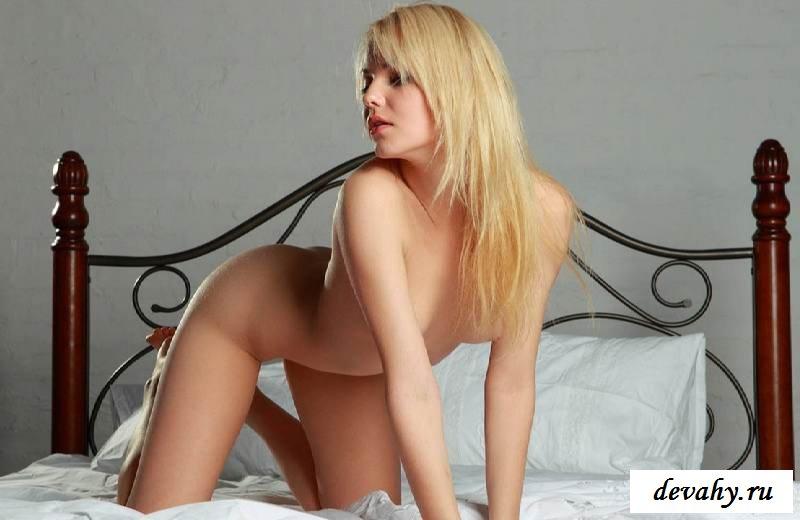 Маленькие сиськи обнаженной красотки на постели   (15 фото эротики)