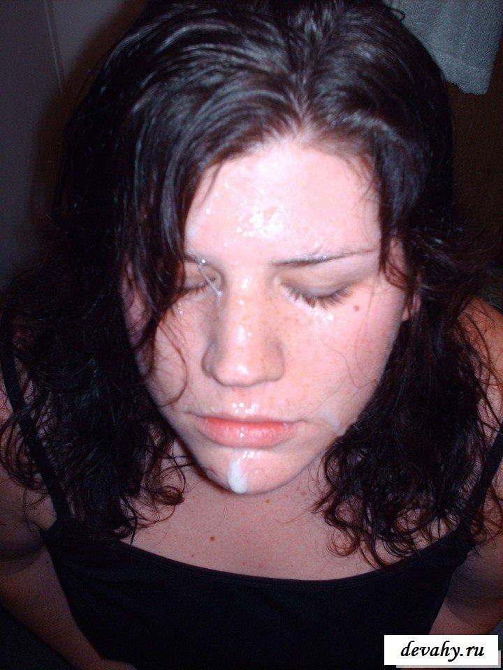 Сперма на лицах девушек домашние фото
